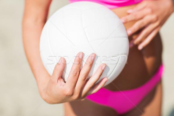 Mulher voleibol bola praia verão Foto stock © dolgachov