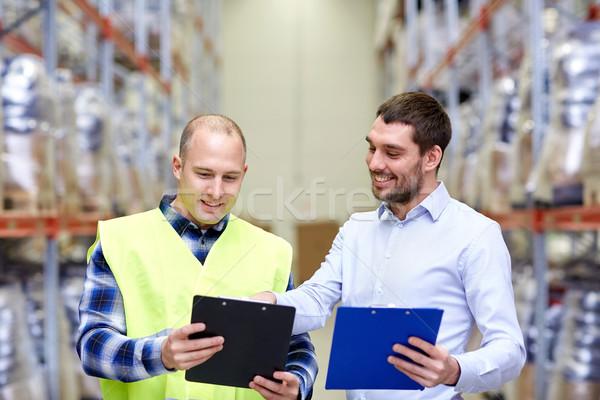 Foto stock: Trabajador · empresarios · portapapeles · almacén · personas