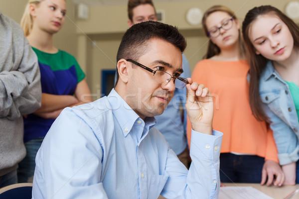 Grupy studentów nauczyciel szkoły klasie edukacji Zdjęcia stock © dolgachov