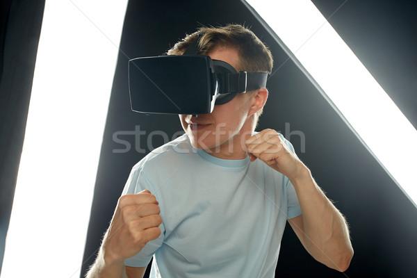 Człowiek faktyczny rzeczywistość zestawu okulary 3d 3D Zdjęcia stock © dolgachov