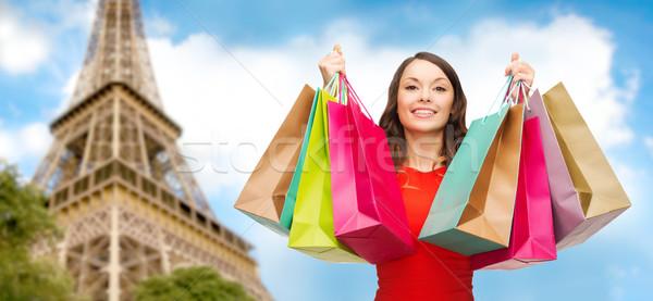 Szczęśliwy kobieta Wieża Eiffla ludzi wakacje Zdjęcia stock © dolgachov