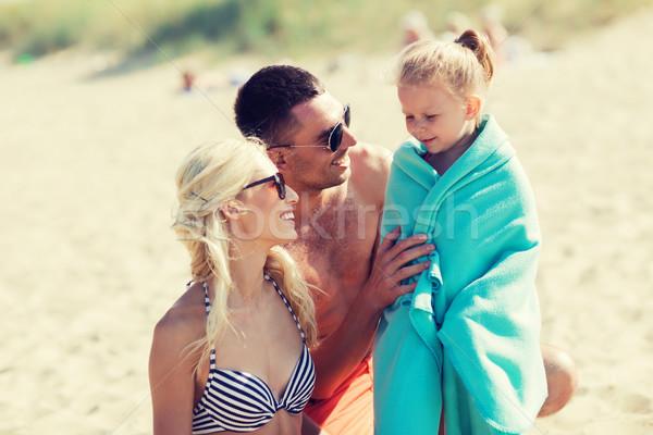 幸せな家族 夏 ビーチ 家族 休暇 採用 ストックフォト © dolgachov