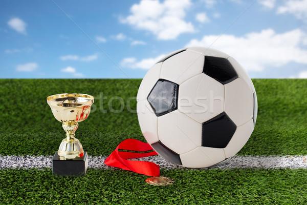 Fußball Ball golden Tasse Medaille Stock foto © dolgachov