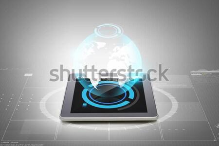 Dizüstü bilgisayar düşük biçim projeksiyon teknoloji siber Stok fotoğraf © dolgachov