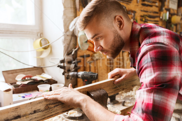 Dulgher lucru lemn atelier profesie Imagine de stoc © dolgachov