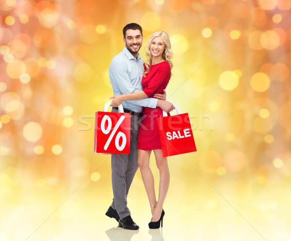 Foto stock: Feliz · casal · vermelho · pessoas · natal