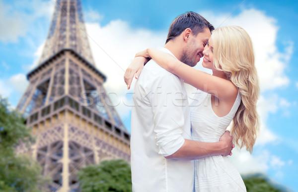 Boldog pár ölel Eiffel torony utazás Stock fotó © dolgachov