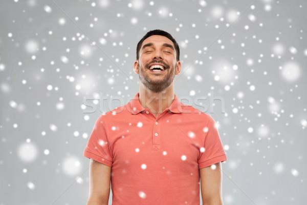 Felice ridere uomo neve emozione inverno Foto d'archivio © dolgachov