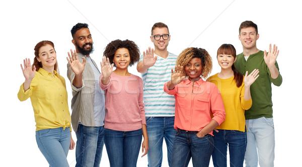 Międzynarodowych grupy szczęśliwych ludzi strony różnorodności Zdjęcia stock © dolgachov