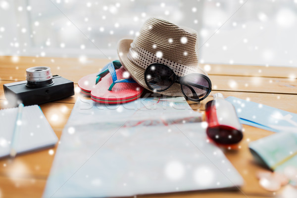 travel map, hat, camera with flip-flops and shades Stock photo © dolgachov