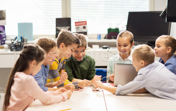 счастливым детей ноутбука робототехника школы образование Сток-фото © dolgachov
