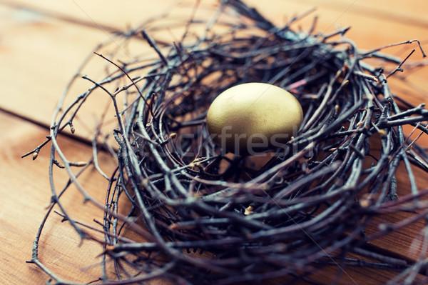 Közelkép arany húsvéti tojás fészek fa húsvét Stock fotó © dolgachov