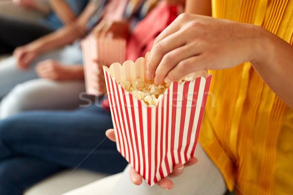 幸せ 友達 食べ ポップコーン ホーム ストックフォト © dolgachov