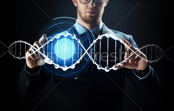 Empresário virtual dna pessoas de negócios tecnologia Foto stock © dolgachov