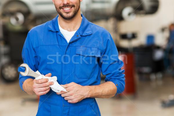 Mecánico de automóviles llave coche taller servicio reparación Foto stock © dolgachov