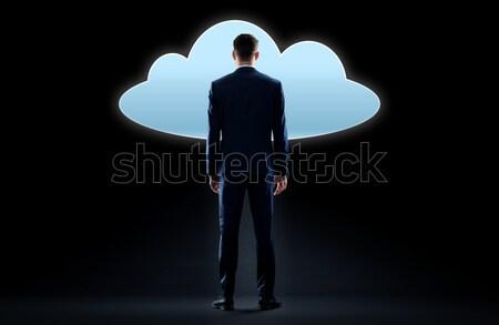 ビジネスマン 雲 投影 暗い ビジネスの方々  技術 ストックフォト © dolgachov