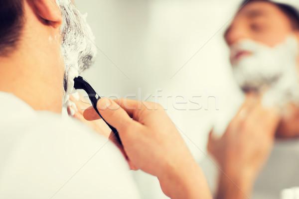 Man baard scheermes mes schoonheid Stockfoto © dolgachov