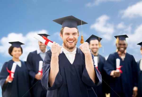 Mutlu öğrenci diploma mezuniyet eğitim Stok fotoğraf © dolgachov