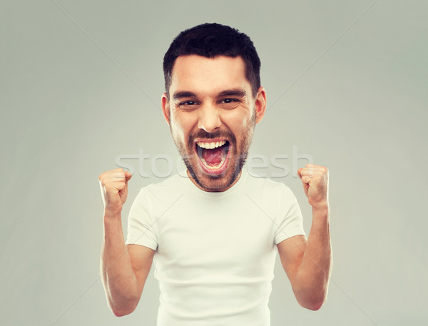 young man celebrating victory over gray Stock photo © dolgachov