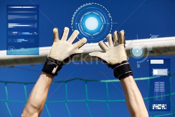 вратарь футболист рук футбола цель спорт Сток-фото © dolgachov