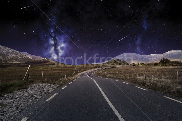 asphalt road over night sky or space Stock photo © dolgachov