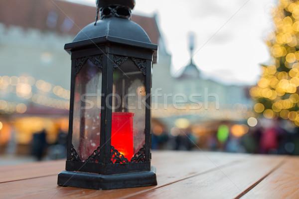 Natale lanterna brucia candela vacanze Foto d'archivio © dolgachov
