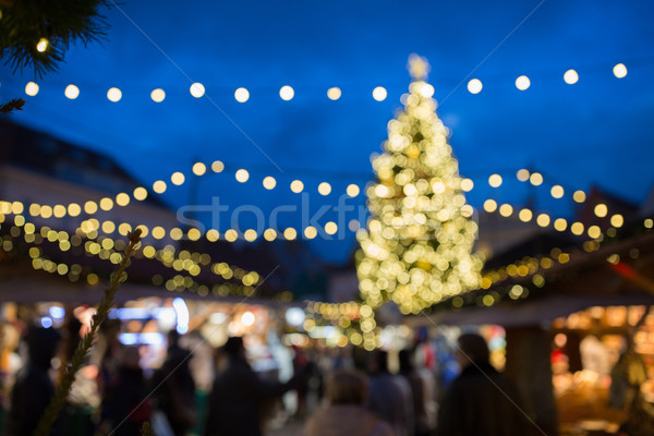 christmas market at tallinn old town hall square Stock photo © dolgachov