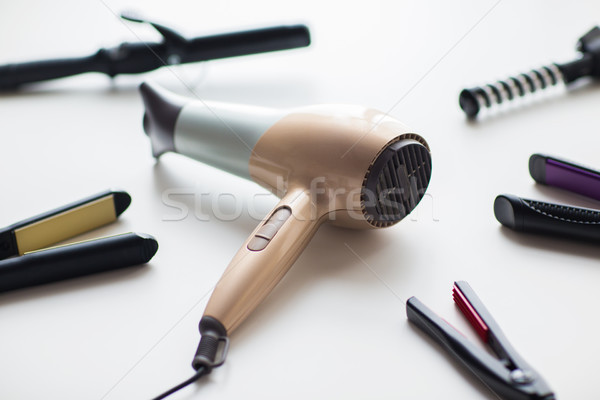hairdryer, hot styling and curling irons Stock photo © dolgachov