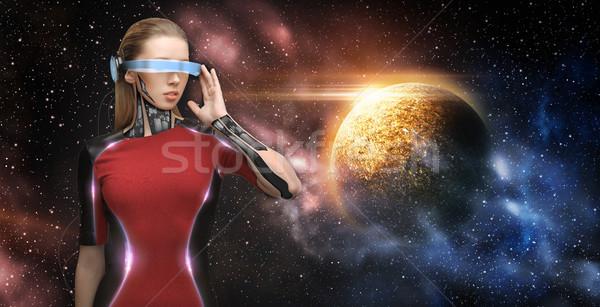 ストックフォト: 女性 · ロボット · バーチャル · 現実 · 眼鏡 · スペース