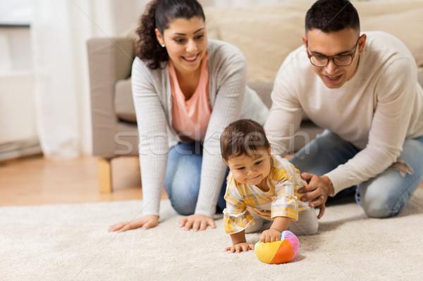 Photo stock: Famille · heureuse · bébé · jouer · maison · famille
