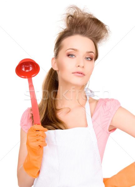 домохозяйка красный ковш фотография красивой оранжевый Сток-фото © dolgachov