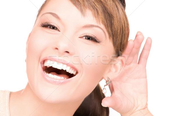 Plotka jasne zdjęcie młoda kobieta słuchania kobieta Zdjęcia stock © dolgachov