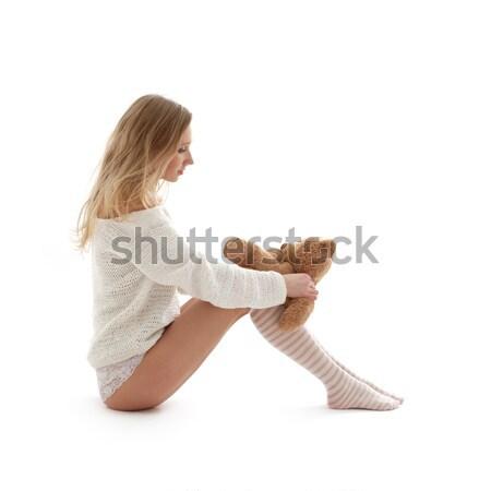 Foto stock: Rubio · blanco · suéter · osito · de · peluche · Foto · mujer