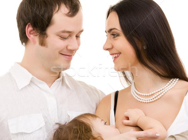 Familia feliz brillante Foto blanco mujer familia Foto stock © dolgachov