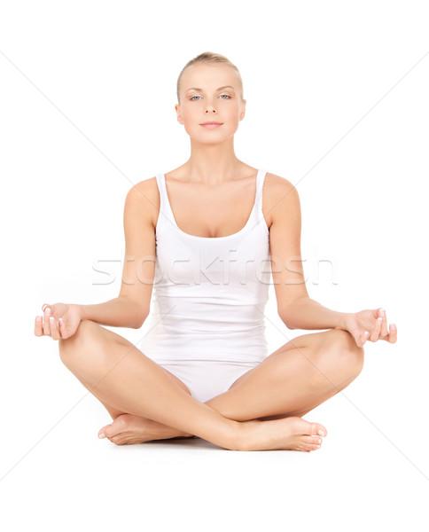 woman in cotton undrewear practicing lotus pose Stock photo © dolgachov