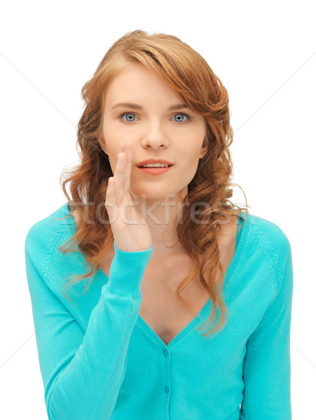 Tinilány suttog pletyka fényes kép nő Stock fotó © dolgachov