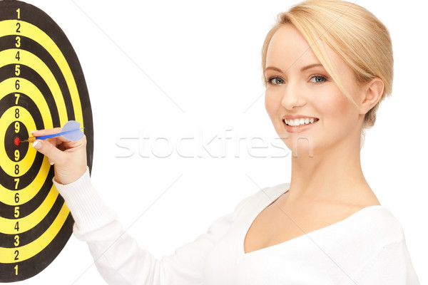 businesswoman with dart and target Stock photo © dolgachov