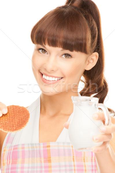 Stockfoto: Huisvrouw · melk · cookies · foto · mooie · vrouw