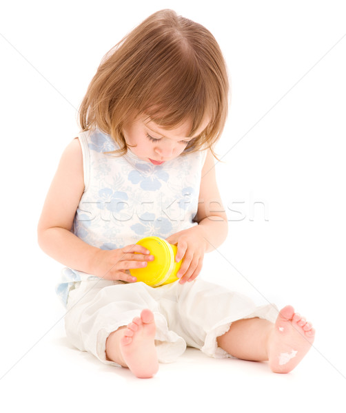 little girl with modelling foam Stock photo © dolgachov