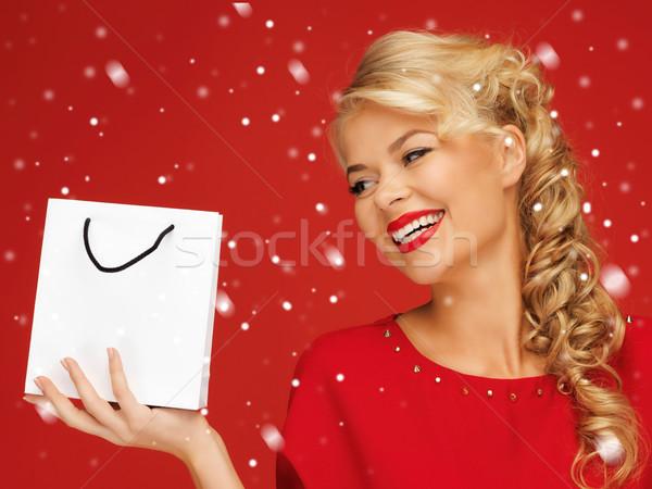 Femme robe rouge panier photos neige Shopping Photo stock © dolgachov