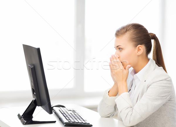 Student komputera biuro zdjęcie kobieta Zdjęcia stock © dolgachov