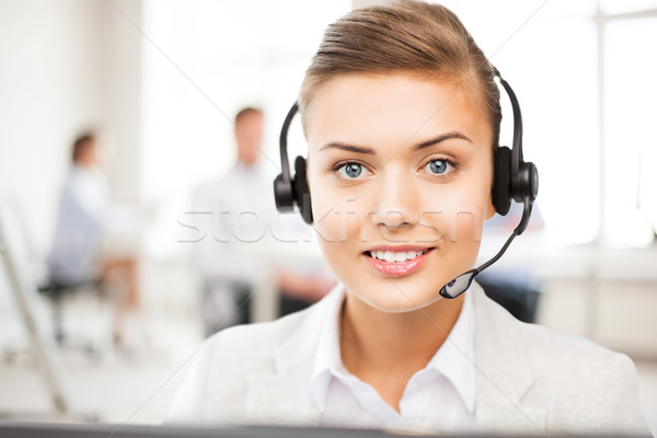Línea de ayuda operador auriculares call center amistoso femenino Foto stock © dolgachov
