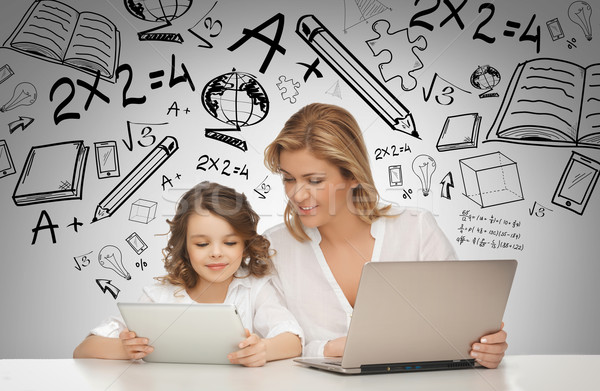 Stock photo: girl and mother with tablet and laptop