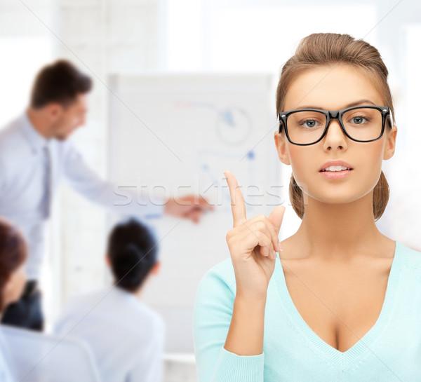 Vonzó diák visel szemüveg főiskola oktatás Stock fotó © dolgachov