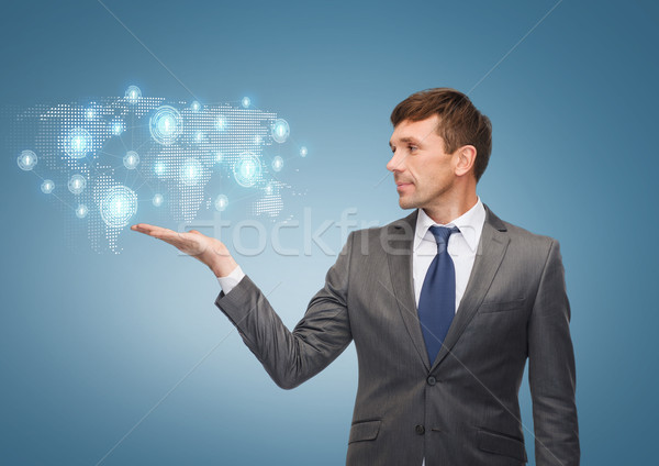 教師 世界地図 ホログラム ビジネス オフィス ストックフォト © dolgachov