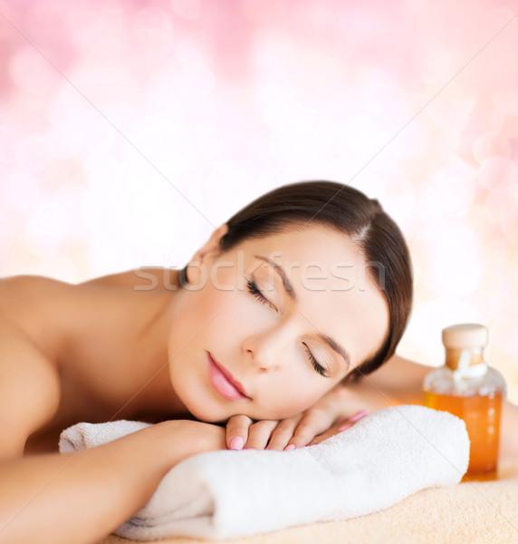 Glücklich Frau spa Salon Massage Stock foto © dolgachov