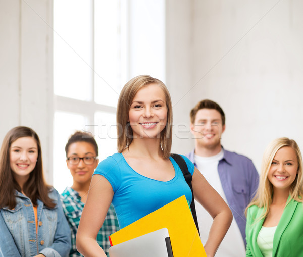 Lächelnd Studenten Tasche Ordner Bildung Stock foto © dolgachov