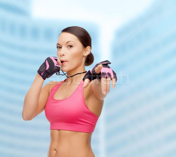 Asiático personal trainer assobiar esportes fitness saúde Foto stock © dolgachov