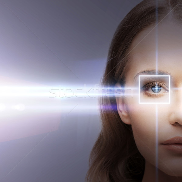 woman eye with laser correction frame Stock photo © dolgachov