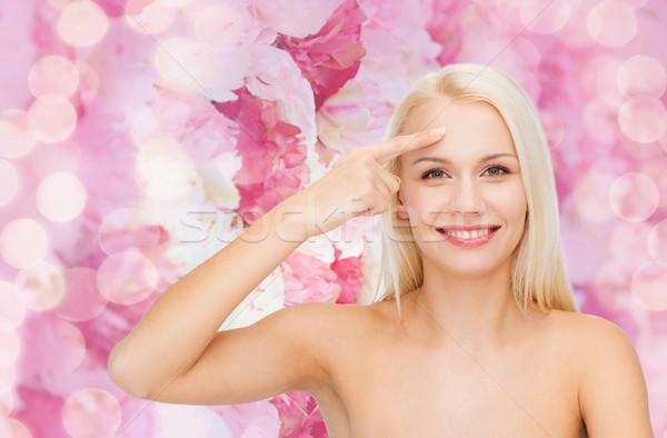 美人 触れる 額 健康 美 顔 ストックフォト © dolgachov